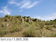 Купить «Остатки бетонных свай на склоне холма», фото № 1865306, снято 10 июля 2010 г. (c) Борис Панасюк / Фотобанк Лори