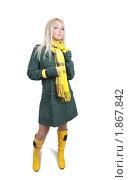 Купить «Девушка в зелёном пальто на белом фоне», фото № 1867842, снято 13 октября 2009 г. (c) Яков Филимонов / Фотобанк Лори