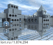 Купить «Абстрактный пейзаж со строительными блоками переходящими в средневековый замок», иллюстрация № 1874294 (c) Денис Шашкин / Фотобанк Лори