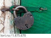 Купить «Старый висячий замок на зеленой двери», фото № 1875670, снято 18 июля 2010 г. (c) Левончук Юрий / Фотобанк Лори