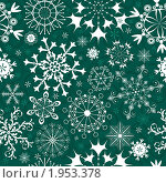 Новогодний зеленый фон со снежинками. Стоковая иллюстрация, иллюстратор Ольга Дроздова / Фотобанк Лори