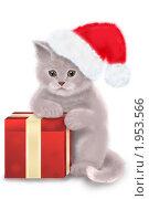 Купить «Новогодний кот. Открытка», иллюстрация № 1953566 (c) Дорощенко Элла / Фотобанк Лори
