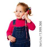 Купить «Девочка с игрушечным телефоном», фото № 1999366, снято 5 февраля 2010 г. (c) Ольга Сапегина / Фотобанк Лори