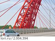 Купить «Ванты и опора Живописного моста. Фрагмент», эксклюзивное фото № 2004394, снято 13 августа 2010 г. (c) Алёшина Оксана / Фотобанк Лори