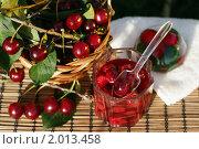 Купить «Вишня и вишневое варенье», фото № 2013458, снято 28 июля 2010 г. (c) Татьяна Белова / Фотобанк Лори