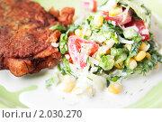 Жареное мясо с салатом. Стоковое фото, фотограф Tatiana / Фотобанк Лори