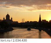 Купить «Москва-река на закате», фото № 2034430, снято 1 октября 2010 г. (c) Баева Татьяна Александровна / Фотобанк Лори