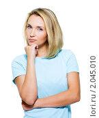 Купить «Портрет красивой задумчивой девушки», фото № 2045010, снято 23 августа 2010 г. (c) Валуа Виталий / Фотобанк Лори