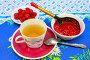Чашка чая, свежая малина на блюдце и пиала с малиновым вареньем, фото № 2051566, снято 16 июля 2010 г. (c) Алексей Баринов / Фотобанк Лори