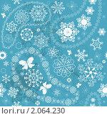 Купить «Новогодний фон с бабочками и снежинками», иллюстрация № 2064230 (c) Ольга Дроздова / Фотобанк Лори