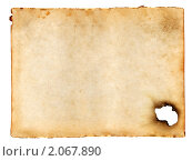 Старый лист бумаги с дыркой. Стоковое фото, фотограф Александр Лычагин / Фотобанк Лори