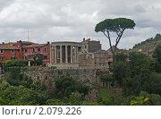 Круглый храм Весты (I в. до н. э.) в Тиволи. Италия., фото № 2079226, снято 26 сентября 2017 г. (c) GrayFox / Фотобанк Лори