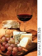 Купить «Натюрморт с бокалом красного вина, сыром, хлебом и виноградом», фото № 2080526, снято 7 октября 2010 г. (c) Татьяна Белова / Фотобанк Лори