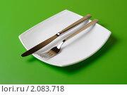 Купить «Белая квадратная тарелка с лежащими на ней ножом и вилкой. Зеленый фон.», фото № 2083718, снято 21 октября 2010 г. (c) Валерий Крывша / Фотобанк Лори