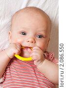 Купить «Ребенок, грызущий пластиковое кольцо», фото № 2086550, снято 25 августа 2019 г. (c) Буханцов Алексей / Фотобанк Лори