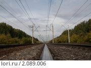 Перспективный вид железной дороги. Стоковое фото, фотограф Сергей Землянов / Фотобанк Лори