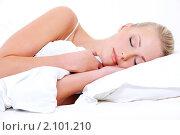 Купить «Спящая девушка», фото № 2101210, снято 30 сентября 2009 г. (c) Валуа Виталий / Фотобанк Лори