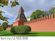 Купить «Тайницкая башня и фрагмент Кремлевской стены», эксклюзивное фото № 2103558, снято 30 сентября 2010 г. (c) Алёшина Оксана / Фотобанк Лори
