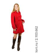 Купить «Девушка в красном пальто», фото № 2103662, снято 30 августа 2010 г. (c) Яков Филимонов / Фотобанк Лори