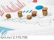 Купить «Бизнес графики и стопки монет», фото № 2115730, снято 2 октября 2010 г. (c) Сергей Дашкевич / Фотобанк Лори