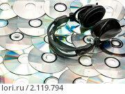 Купить «Наушники на компакт-дисках», фото № 2119794, снято 23 октября 2010 г. (c) Сергей Дашкевич / Фотобанк Лори