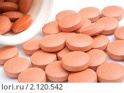 Оранжевые таблетки крупным планом. Стоковое фото, фотограф Александр Тесевич / Фотобанк Лори