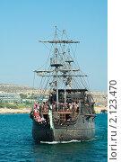 """Купить «""""Черная жемчужина""""-пиратский корабль Джека Воробья около острова Кипр», фото № 2123470, снято 24 сентября 2010 г. (c) Кекяляйнен Андрей / Фотобанк Лори"""