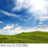 Купить «Холм с зеленой травой под лучами солнца», фото № 2133582, снято 6 июня 2009 г. (c) Михаил Коханчиков / Фотобанк Лори