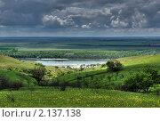 Майский пейзаж, вид на реку Дон, грозовое небо. Стоковое фото, фотограф Yury Ivanov / Фотобанк Лори