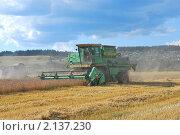 Комбайн на уборке пшеничного поля (2010 год). Редакционное фото, фотограф Ванеева Валентина / Фотобанк Лори