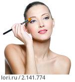 Купить «Молодая девушка наносит макияж», фото № 2141774, снято 29 октября 2010 г. (c) Валуа Виталий / Фотобанк Лори