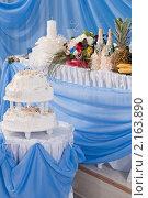 Купить «Свадебный торт в банкетном зале кафе», фото № 2163890, снято 30 июля 2010 г. (c) Федор Королевский / Фотобанк Лори
