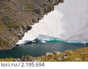 Купить «Горное ледниковое озеро», фото № 2195694, снято 18 августа 2010 г. (c) Andrey M / Фотобанк Лори