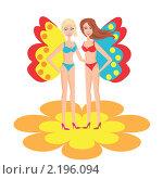 Девушка с крыльями бабочек. Стоковая иллюстрация, иллюстратор Королева Елена Викторовна / Фотобанк Лори