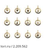 Купить «Коллекция золотых кулонов - 12 знаков зодиака», фото № 2209562, снято 4 декабря 2009 г. (c) ElenArt / Фотобанк Лори