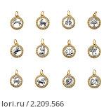 Купить «Коллекция золотых подвесок - 12 знаков зодиака», фото № 2209566, снято 4 декабря 2009 г. (c) ElenArt / Фотобанк Лори