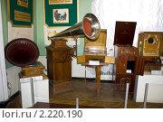 Экспозиция граммофонов. Политехнический музей (2010 год). Редакционное фото, фотограф Виталий Калугин / Фотобанк Лори