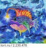 Рыба с фонариком. Стоковая иллюстрация, иллюстратор Фомченкова Юлия / Фотобанк Лори