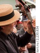 Виолончель в руках музыканта на пивном фестивале в Брюсселе (2010 год). Редакционное фото, фотограф Дмитрий Бороздин / Фотобанк Лори