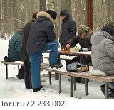 Купить «Мужчины, увлечённо играющие в шахматы на морозе», фото № 2233002, снято 19 декабря 2010 г. (c) Самойлова Екатерина / Фотобанк Лори