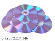 Купить «CD и DVD диски на белом фоне», фото № 2234346, снято 5 декабря 2010 г. (c) Денис Ларкин / Фотобанк Лори