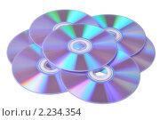 Купить «CD и DVD диски на белом фоне», фото № 2234354, снято 7 декабря 2010 г. (c) Денис Ларкин / Фотобанк Лори