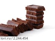 Купить «Крупный план шоколадной плитки», фото № 2244454, снято 8 декабря 2008 г. (c) Сергей Петерман / Фотобанк Лори