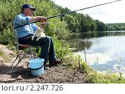 Купить «Рыбак с удочкой и рыжий кот ловят рыбу на берегу озера», фото № 2247726, снято 6 августа 2009 г. (c) Яна Королёва / Фотобанк Лори