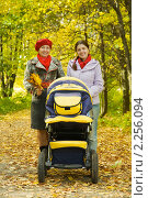 Купить «Две женщины с коляской в осеннем парке», фото № 2256094, снято 30 сентября 2010 г. (c) Яков Филимонов / Фотобанк Лори