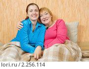 Купить «Две женщины сидят обнявшись на диване», фото № 2256114, снято 23 января 2010 г. (c) Яков Филимонов / Фотобанк Лори