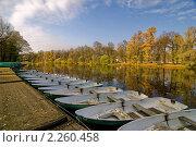 Лодки у пирса на Елагином острове. Санкт-Петербург. Стоковое фото, фотограф Терещенко Марина / Фотобанк Лори