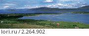 Панорама холмов и озера, Норвегия. Стоковое фото, фотограф Leksele / Фотобанк Лори