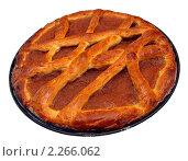 Яблочный пирог на круглом противне, изолированно. Стоковое фото, фотограф SevenOne / Фотобанк Лори