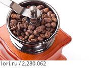 Кофемолка и поджаренные кофейные зерна на белом фоне. Стоковое фото, фотограф Андрей Алпатов / Фотобанк Лори